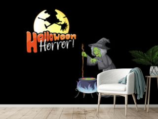 Halloween Horror logo with old witch cartoon character
