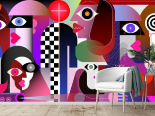 The advent of the messiah. Modern abstract art vector illustration of Messiah and large group of believers.