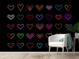 Neon colors isolated on a black background Hearts vector icon set. Decorative design elements. Large bundle of multicolored heart shapes. Can be used as a logo.
