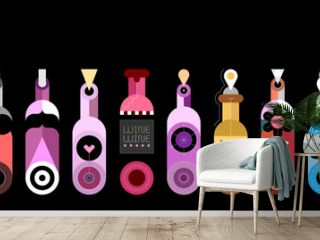 Colored isolated on a black background decorative bottles vector illustration. Row of ten different wine bottles. Each bottle is placed on a separate background.