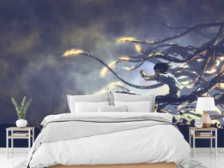 Fantasy scene of the young boy released magical power, digital art style, illustration painting