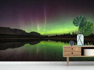 Aurora Borealis Reflected In Still Lake