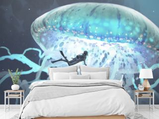 the glowing jellyfish on the deep sea