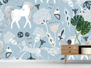 Seamless bohemian style pattern with hand drawn unicorn, fox, bunny and flowers. Vector illustration