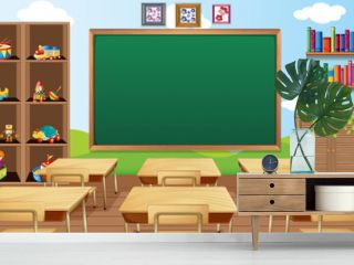 Empty classroom scene with interior decoration and objects