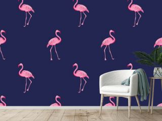 Seamless pattern background with pink flamingo, vector EPS 10