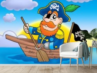 Pirate on boat with sunset