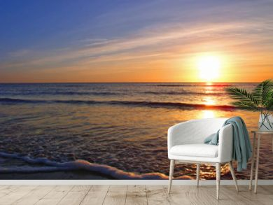 sunset over seascale beach