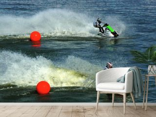 two jetskis riding from red balls