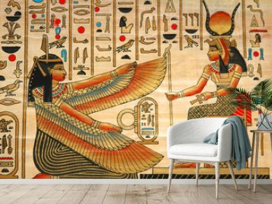 papyrus with elements of egyptian ancient history