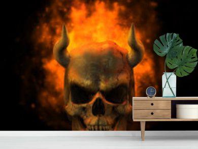 flaming demon skull