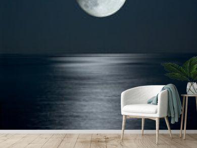 full moon in black sky