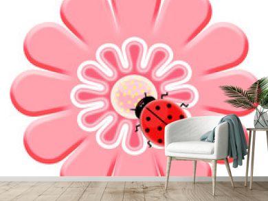 Ladybug on the pink flower