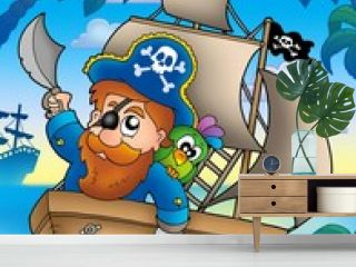 Cartoon pirate sailing on ship