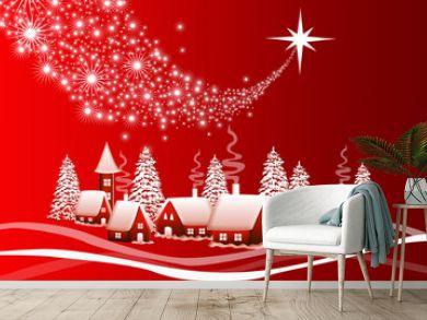 Red Christmas landscape