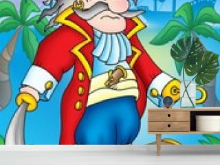 Noble pirate with treasure chest