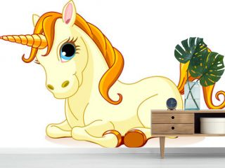 Vector Illustration of sitting cute golden Unicorn.