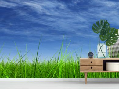 conceptual 3D golf ball on green grass over a blue sky