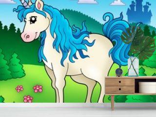 Cute unicorn in forest