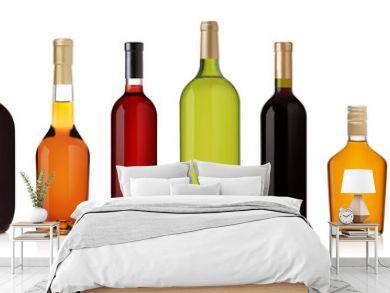 Set of wine and brandy bottles.