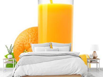 Isolated fruit drink. Glass of fresh juice and orange slices isolated on white background