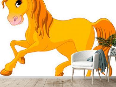 Vector Illustration of skipping beautiful golden horse