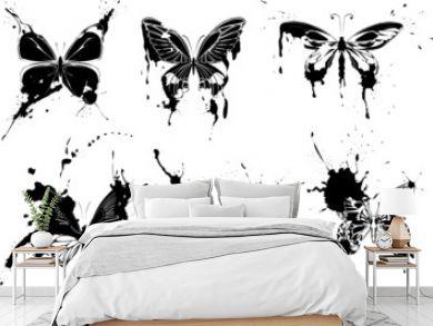 set of  grunge monochrome butterflies