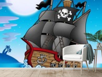 Pirate vessel at night