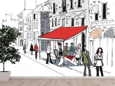 Vector illustration of European cafe street scene