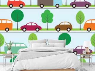 Seamless background with cartoon cars