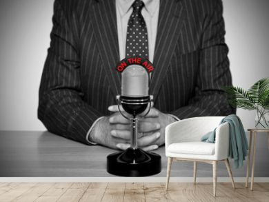 Retro news broadcast and microphone.