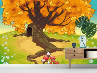 Tree in autumnal landscape. Vector coloured illustration
