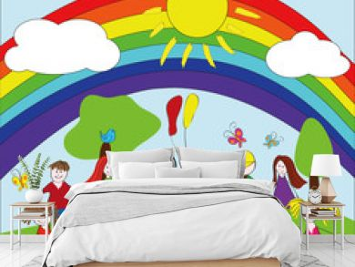 Merry children background with rainbow