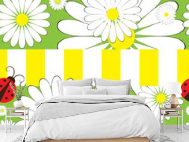 Seamless pattern with ladybird and chamomile