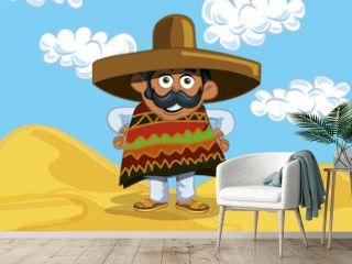 Cartoon Mexican in the desert