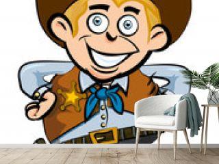 Cute cartoon cowboy smiling