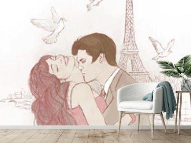 couple kissing in Paris