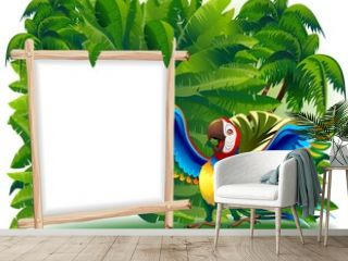 Pappagallo Ara Cartoon Pannello-Funny Macaw Parrot Background
