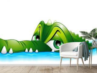 Coccodrillo Cartoon in Acqua-Crocodile in Water-Vector