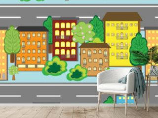 Seamless background with cartoon town pattern