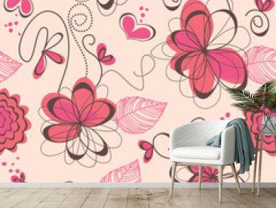 Pink romantic seamless pattern