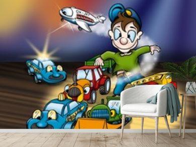 Cartoon Toys - Cheerful Background Illustration