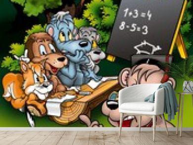 Animal Classroom - Cartoon Background Illustration