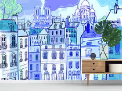 Paris in watercolor style