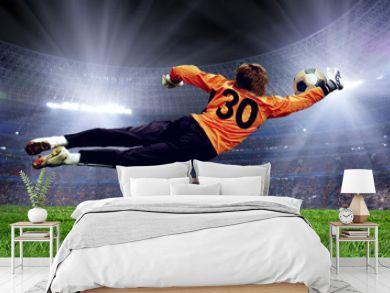 Football goalman on the stadium field