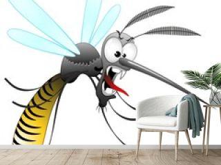 Zanzara Tigre Cartoon-Funny Mosquito-Moustique-Vector