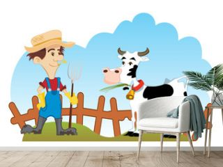 Country scene with farmer and cow