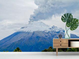 Closeup of Tungurahua Volcano  a large amount of ashes