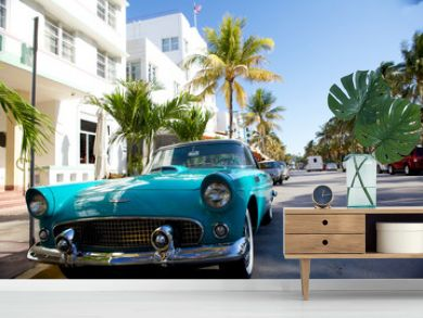 View of  Ocean drive with a vintage car