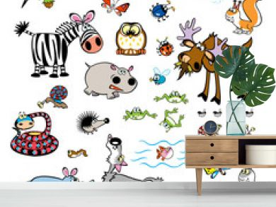 vector set of childish wild animals